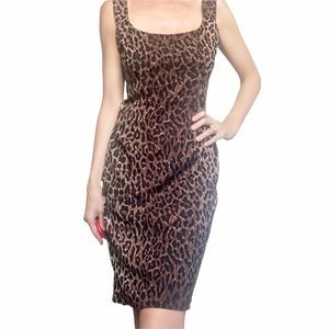 Dolce & Gabbana 90's Leopard Stretch Silk 44 IT S